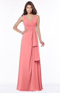 ColsBM Giselle Coral Gorgeous A-line V-neck Sleeveless Half Backless Pick up Bridesmaid Dresses