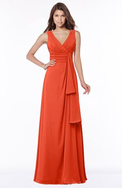 ColsBM Giselle Persimmon Gorgeous A-line V-neck Sleeveless Half Backless Pick up Bridesmaid Dresses