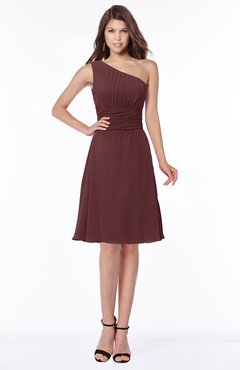 ColsBM Lilyana Burgundy Romantic One Shoulder Chiffon Knee Length Pleated Bridesmaid Dresses