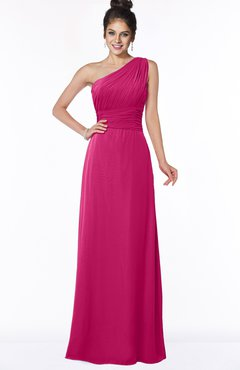 ColsBM Adalyn Beetroot Purple Mature Sheath Sleeveless Half Backless Chiffon Ruching Bridesmaid Dresses