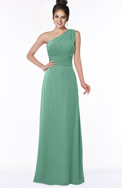 ColsBM Adalyn Beryl Green Mature Sheath Sleeveless Half Backless Chiffon Ruching Bridesmaid Dresses