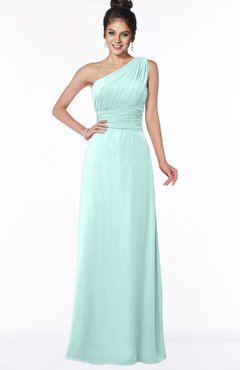 ColsBM Adalyn Blue Glass Mature Sheath Sleeveless Half Backless Chiffon Ruching Bridesmaid Dresses