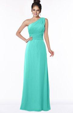 Colsbm Adalyn Blue Turquoise Sheath Sleeveless Half Backless Chiffon Ruching Bridesmaid Dresses