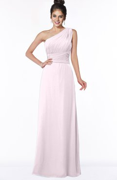 ColsBM Adalyn Blush Mature Sheath Sleeveless Half Backless Chiffon Ruching Bridesmaid Dresses