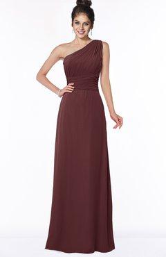 Colsbm Adalyn Burgundy Sheath Sleeveless Half Backless Chiffon Ruching Bridesmaid Dresses