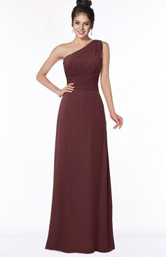 ColsBM Adalyn Root Beer Mature Sheath Sleeveless Half Backless Chiffon Ruching Bridesmaid Dresses