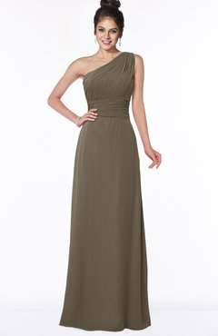 ColsBM Adalyn Carafe Brown Mature Sheath Sleeveless Half Backless Chiffon Ruching Bridesmaid Dresses