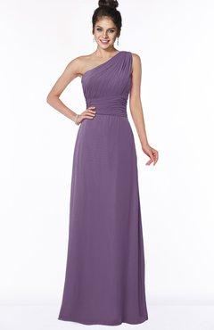 ColsBM Adalyn Chinese Violet Mature Sheath Sleeveless Half Backless Chiffon Ruching Bridesmaid Dresses