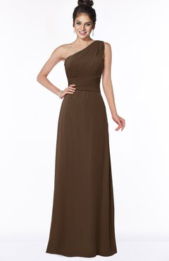 ColsBM Adalyn Chocolate Brown Mature Sheath Sleeveless Half Backless Chiffon Ruching Bridesmaid Dresses