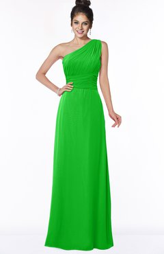 ColsBM Adalyn Classic Green Mature Sheath Sleeveless Half Backless Chiffon Ruching Bridesmaid Dresses