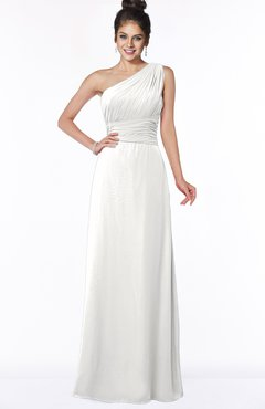 ColsBM Adalyn Cloud White Mature Sheath Sleeveless Half Backless Chiffon Ruching Bridesmaid Dresses