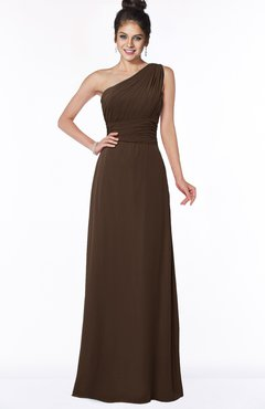 ColsBM Adalyn Copper Mature Sheath Sleeveless Half Backless Chiffon Ruching Bridesmaid Dresses
