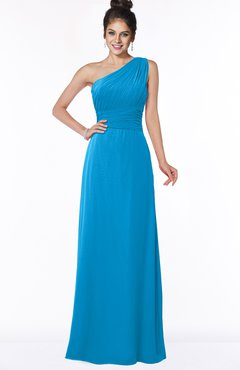 ColsBM Adalyn Cornflower Blue Mature Sheath Sleeveless Half Backless Chiffon Ruching Bridesmaid Dresses