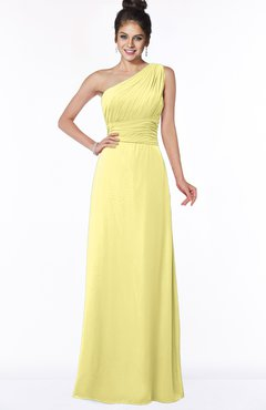 ColsBM Adalyn Daffodil Mature Sheath Sleeveless Half Backless Chiffon Ruching Bridesmaid Dresses