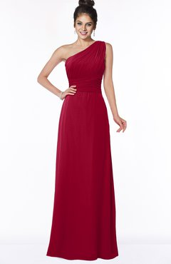 ColsBM Adalyn Dark Red Mature Sheath Sleeveless Half Backless Chiffon Ruching Bridesmaid Dresses