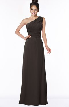 ColsBM Adalyn Fudge Brown Mature Sheath Sleeveless Half Backless Chiffon Ruching Bridesmaid Dresses