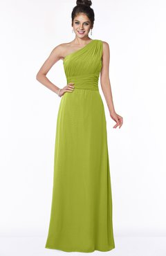 ColsBM Adalyn Green Oasis Mature Sheath Sleeveless Half Backless Chiffon Ruching Bridesmaid Dresses