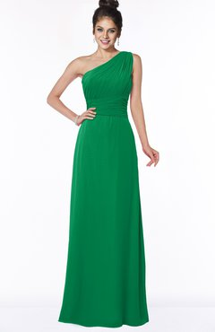 ColsBM Adalyn Green Mature Sheath Sleeveless Half Backless Chiffon Ruching Bridesmaid Dresses