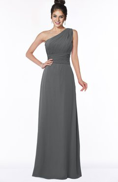 ColsBM Adalyn Grey Mature Sheath Sleeveless Half Backless Chiffon Ruching Bridesmaid Dresses
