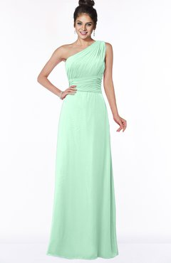 ColsBM Adalyn Honeydew Mature Sheath Sleeveless Half Backless Chiffon Ruching Bridesmaid Dresses