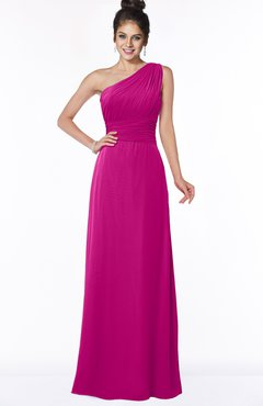 ColsBM Adalyn Hot Pink Mature Sheath Sleeveless Half Backless Chiffon Ruching Bridesmaid Dresses