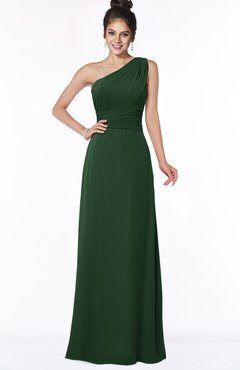 ColsBM Adalyn Hunter Green Mature Sheath Sleeveless Half Backless Chiffon Ruching Bridesmaid Dresses