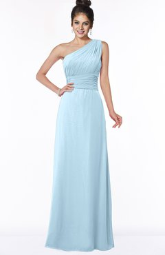 ColsBM Adalyn Ice Blue Mature Sheath Sleeveless Half Backless Chiffon Ruching Bridesmaid Dresses