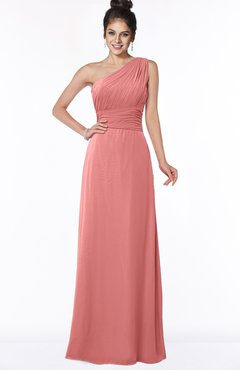 ColsBM Adalyn Lantana Mature Sheath Sleeveless Half Backless Chiffon Ruching Bridesmaid Dresses