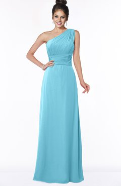 ColsBM Adalyn Light Blue Mature Sheath Sleeveless Half Backless Chiffon Ruching Bridesmaid Dresses