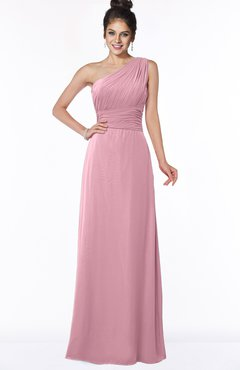 ColsBM Adalyn Light Coral Mature Sheath Sleeveless Half Backless Chiffon Ruching Bridesmaid Dresses
