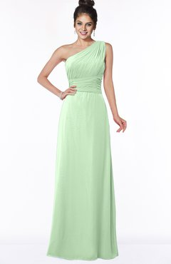 ColsBM Adalyn Light Green Mature Sheath Sleeveless Half Backless Chiffon Ruching Bridesmaid Dresses