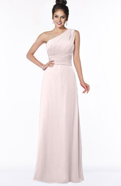 ColsBM Adalyn Light Pink Mature Sheath Sleeveless Half Backless Chiffon Ruching Bridesmaid Dresses