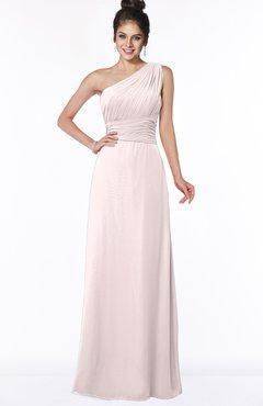 ColsBM Adalyn Light Pink Mature Sheath Sleeveless Half Backless Chiffon Ruching Bridesmaid Dresses
