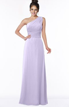 Colsbm Adalyn Light Purple Sheath Sleeveless Half Backless Chiffon Ruching Bridesmaid Dresses