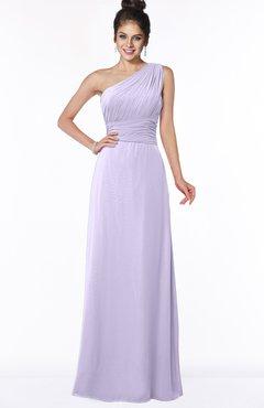 ColsBM Adalyn Light Purple Mature Sheath Sleeveless Half Backless Chiffon Ruching Bridesmaid Dresses