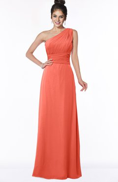 ColsBM Adalyn Living Coral Mature Sheath Sleeveless Half Backless Chiffon Ruching Bridesmaid Dresses