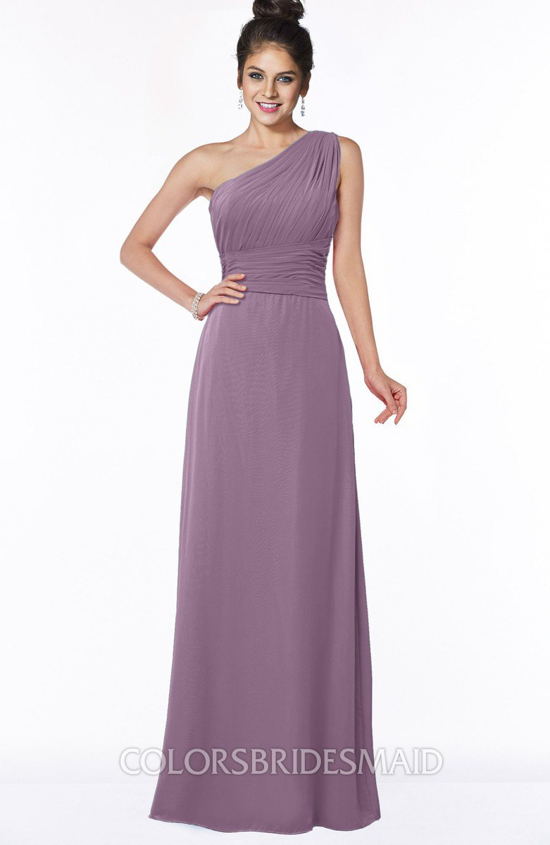 ce72e73c50 ColsBM Adalyn Mauve Mature Sheath Sleeveless Half Backless Chiffon Ruching Bridesmaid  Dresses