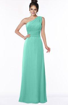 b0a65597fb80 ColsBM Adalyn Mint Green Mature Sheath Sleeveless Half Backless Chiffon  Ruching Bridesmaid Dresses