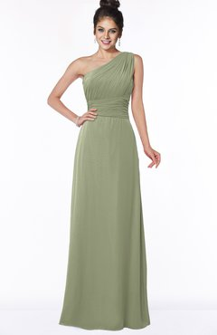 ColsBM Adalyn Moss Green Mature Sheath Sleeveless Half Backless Chiffon Ruching Bridesmaid Dresses