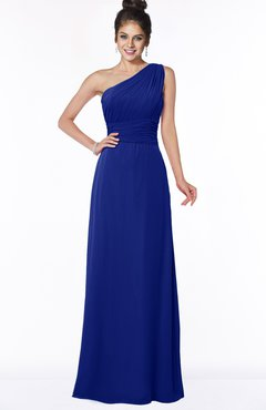 ColsBM Adalyn Nautical Blue Mature Sheath Sleeveless Half Backless Chiffon Ruching Bridesmaid Dresses