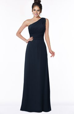 ColsBM Adalyn Navy Blue Mature Sheath Sleeveless Half Backless Chiffon Ruching Bridesmaid Dresses