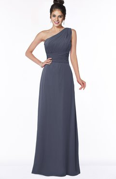 ColsBM Adalyn Nightshadow Blue Mature Sheath Sleeveless Half Backless Chiffon Ruching Bridesmaid Dresses