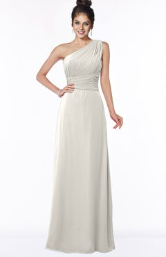 ColsBM Adalyn Off White Mature Sheath Sleeveless Half Backless Chiffon Ruching Bridesmaid Dresses
