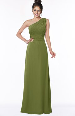 ColsBM Adalyn Olive Green Mature Sheath Sleeveless Half Backless Chiffon Ruching Bridesmaid Dresses