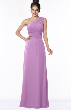 ColsBM Adalyn Orchid Mature Sheath Sleeveless Half Backless Chiffon Ruching Bridesmaid Dresses