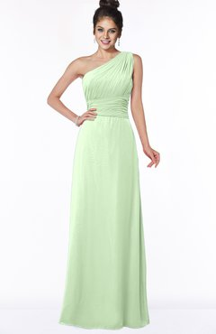 ColsBM Adalyn Pale Green Mature Sheath Sleeveless Half Backless Chiffon Ruching Bridesmaid Dresses