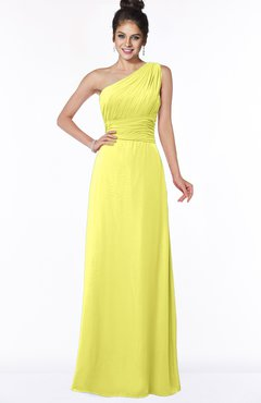 ColsBM Adalyn Pale Yellow Mature Sheath Sleeveless Half Backless Chiffon Ruching Bridesmaid Dresses