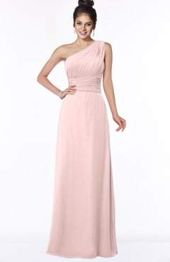 ColsBM Adalyn Pastel Pink Mature Sheath Sleeveless Half Backless Chiffon Ruching Bridesmaid Dresses