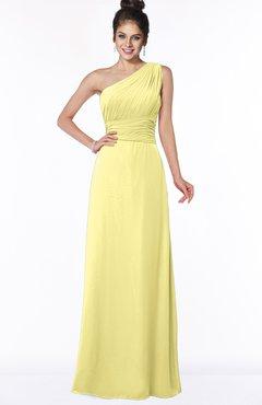 ColsBM Adalyn Pastel Yellow Mature Sheath Sleeveless Half Backless Chiffon Ruching Bridesmaid Dresses