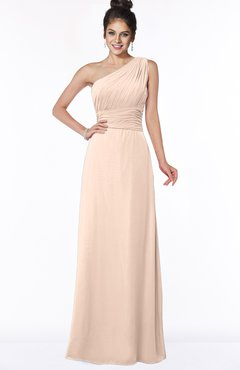 ColsBM Adalyn Peach Puree Mature Sheath Sleeveless Half Backless Chiffon Ruching Bridesmaid Dresses